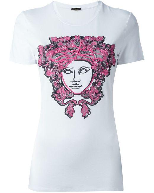 Versace   Женская Белая Футболка С Вышивкой Medusa