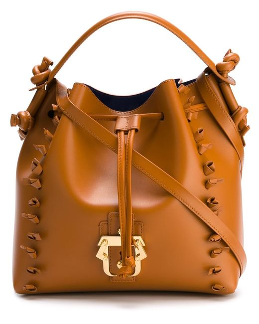 Paula Cademartori   Женское Коричневый Knot-Trimmed Cross Body Bucket Bag