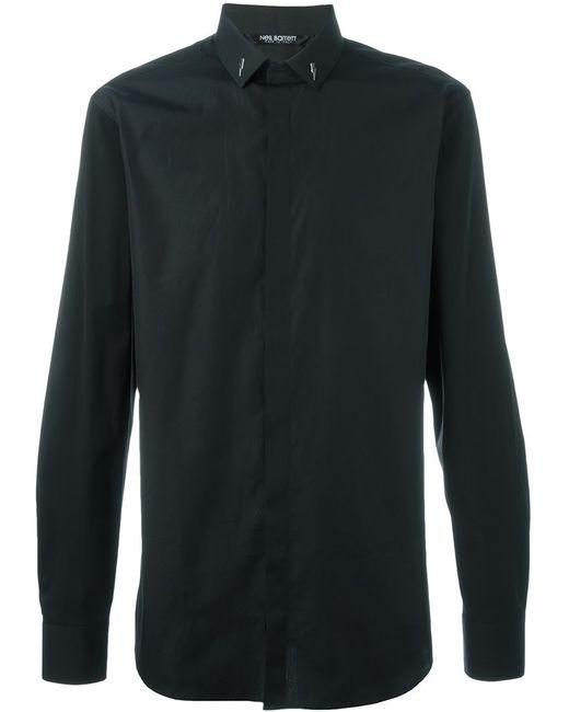 Neil Barrett | Мужская Чёрная Рубашка С Молниями На Воротнике
