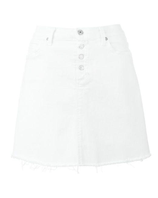 7 for all mankind   Женское Белый Short Denim Skirt