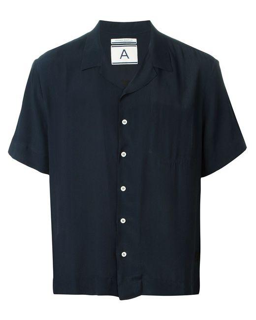 Andrea Pompilio | Мужская Синяя Рубашка С Короткими Рукавами