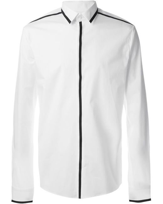 Les Hommes | Мужская Белая Рубашка С Контрастной Окантовкой