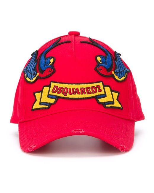 Dsquared2 | Мужское Красный Embroidered Patch Cap