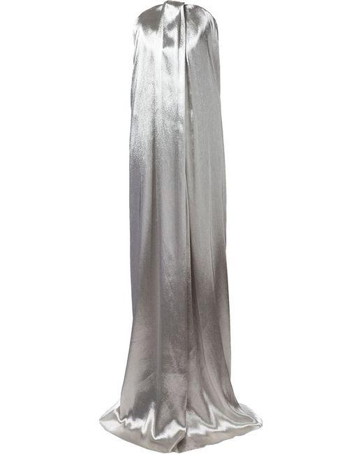 Monse | Женское Серебристое Вечернее Платье Без Бретелек