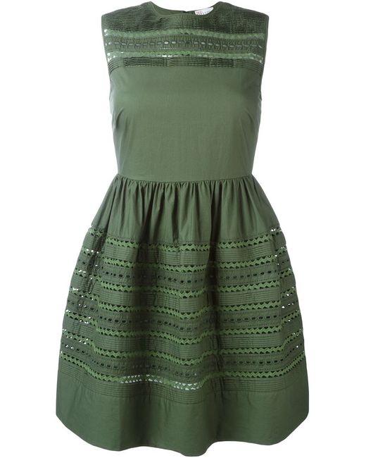 Red Valentino   Женское Зелёное Платье С Вышивкой