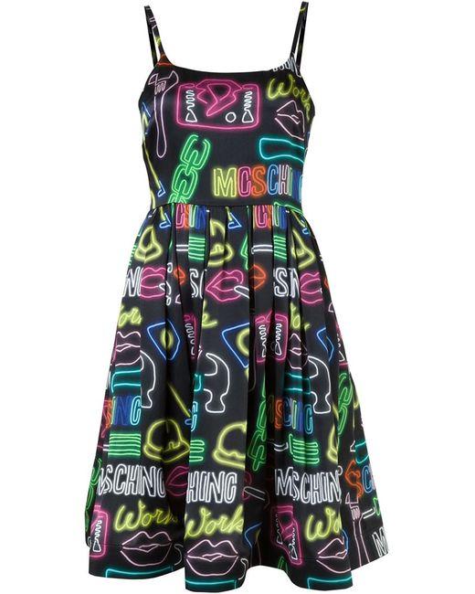 Moschino | Женское Чёрный Neon Sign Dress