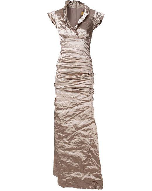 Nicole Miller | Женское Nude & Neutrals Вечернее Платье С Мятым Эффектом