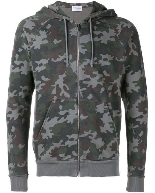 Saint Laurent | Мужское Чёрный Camouflage Zip-Up Hoodie