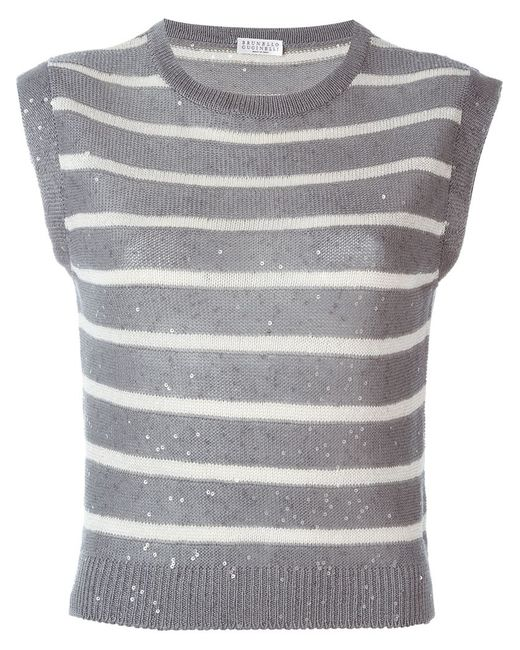 Brunello Cucinelli | Женское Серый Striped Speckled Sequins Knitted Tank
