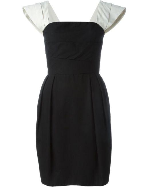 Lanvin | Женское Чёрное Платье С Контрастными Рукавами