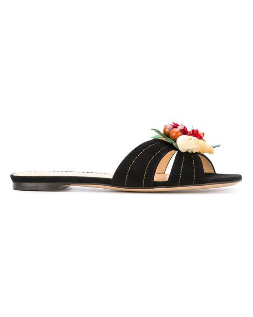 Charlotte Olympia | Женское Чёрный Flower Embellished Flat Sandals Size 39