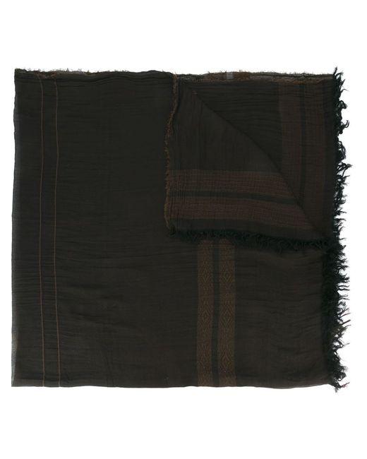 UMA WANG | Мужское Чёрный Trim Pattern Frayed Scarf
