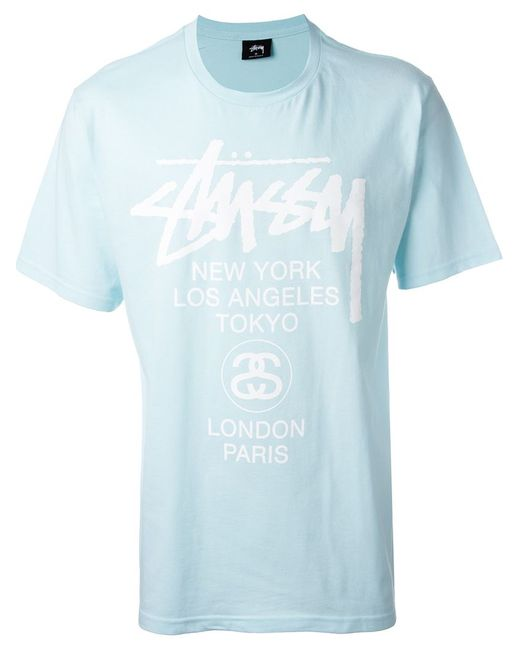 Stussy | Мужское Синий Front Print T-Shirt