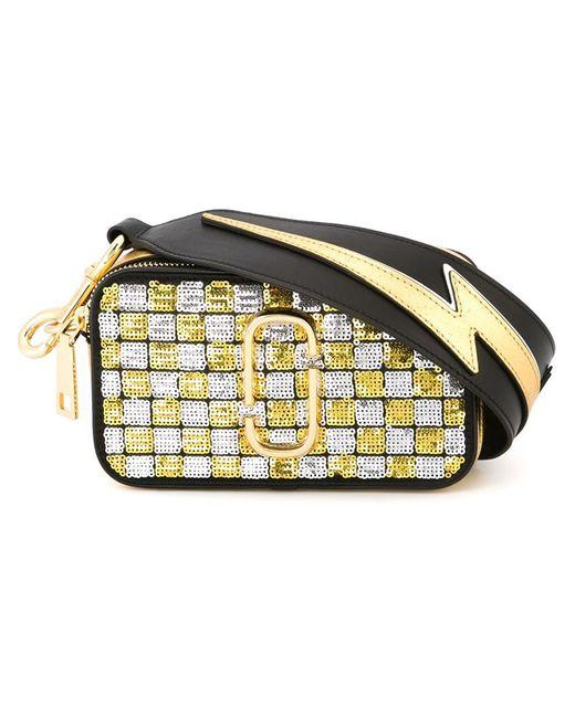 Marc Jacobs | Женское Чёрный Small Snapshot Sequins Checker Crossbody Bag