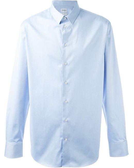 Armani Collezioni   Мужская Синяя Классическая Рубашка На Пуговицах