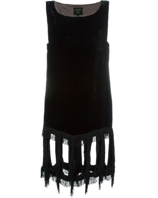 JEAN PAUL GAULTIER VINTAGE | Женское Чёрное Бархатное Платье С Бахромой