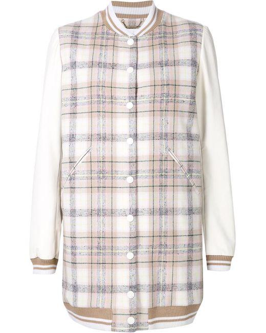 Chloe   Женская Белая Удлиненная Куртка-Бомбер В Клетку