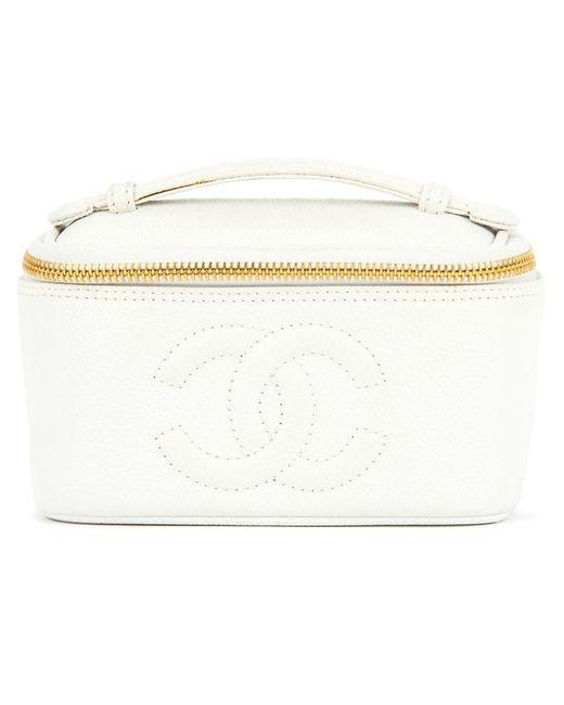 Chanel Vintage | Женский Белый Чемоданчик Для Косметики С Логотипом