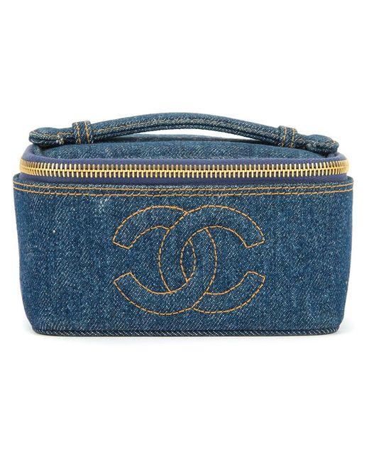 Chanel Vintage   Женский Синий Джинсовый Чемоданчик Для Косметики