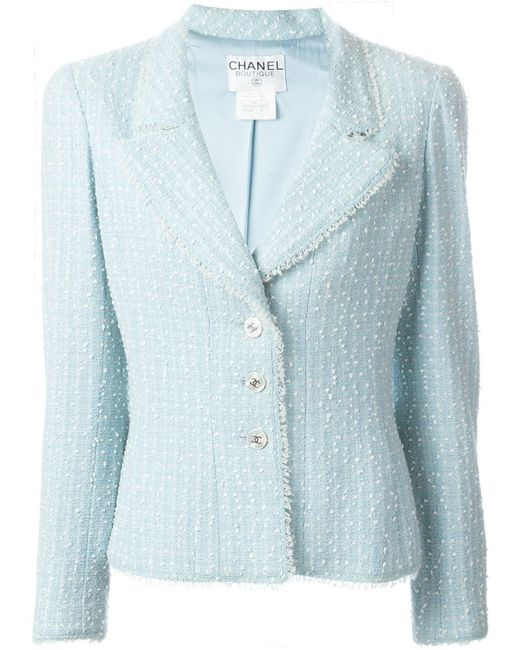 Chanel Vintage | Женский Синий Трикотажный Пиджак Букле
