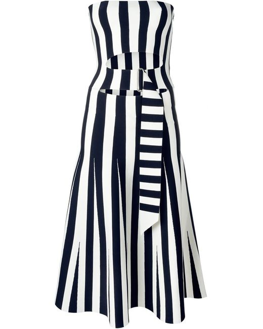 Alexander Wang | Женское Синее Полосатое Платье Без Бретелек