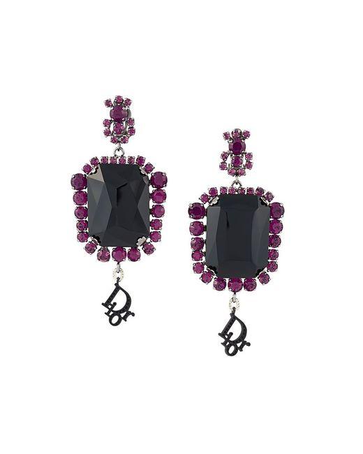 Dior | Женское Чёрный Défilé Crystal Clip-On Earrings
