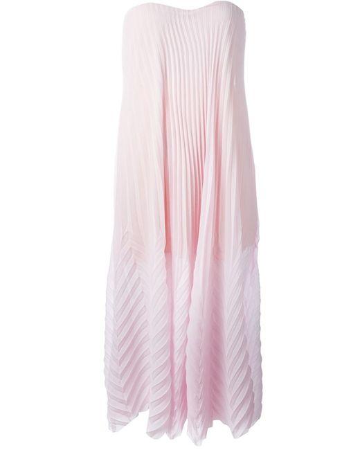 MSGM | Женское Розовое Платье Миди Без Бретелек