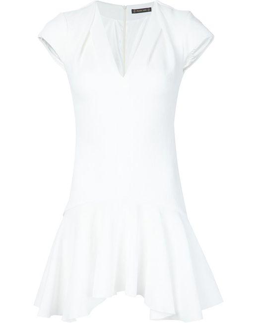 Plein Sud | Женское Белое Платье С Гофрированным Подолом