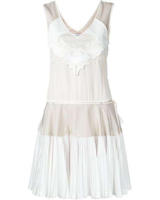 COACH | Женское Белый Panelled Pleated Hem Dress