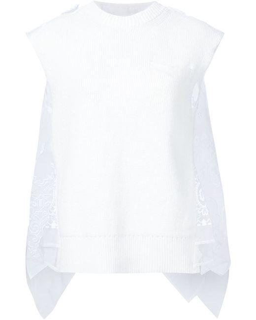 Sacai | Женское Белый Sheer Bandana Detail Tank Top