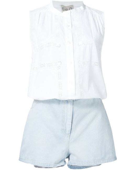 Sea   Женское Белый Lace Detail Button Down Playsuit