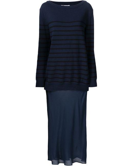 T By Alexander Wang | Женское Синий Striped Knit Layered Dress