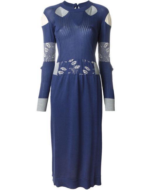 Maison Margiela | Женское Синее Вязаное Платье В Рубчик