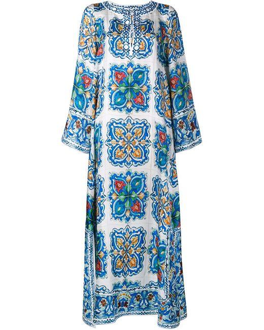 Dolce & Gabbana   Женское Синий Maiolica Print Silk-Twill Kaftan Dress