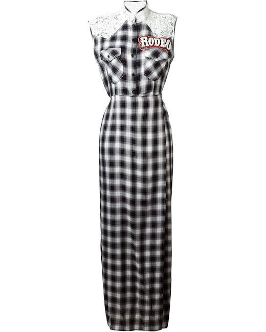 FORTE COUTURE | Женское Чёрный Lace Panel Checked Shirt Dress