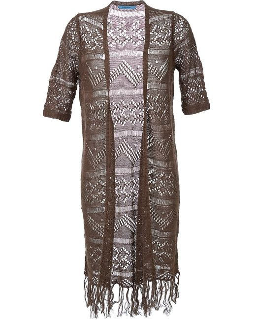 GUILD PRIME | Женское Коричневый Fringed Crochet Long Cardigan Coat
