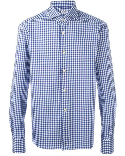 Kiton | Мужское Синий Gingham Check Shirt