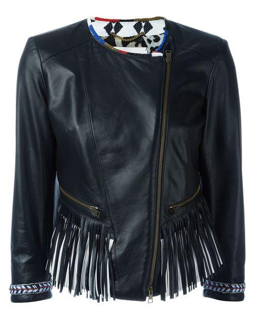 BAZAR DELUXE | Женская Чёрная Байкерская Куртка С Бахромой