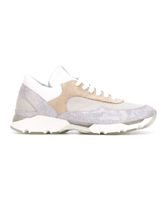 Eleventy   Женское Nude & Neutrals Panelled Running Sneakers
