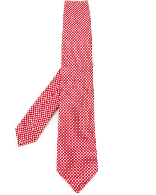 Kiton   Мужской Красный Галстук С Геометрическим Узором