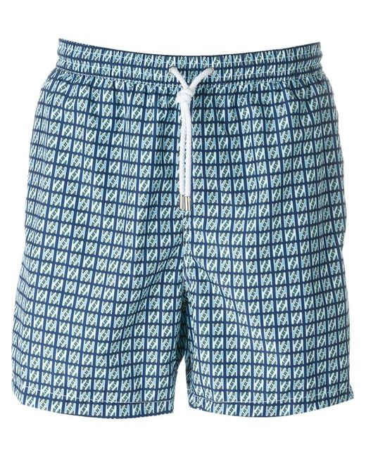 Kiton   Мужское Синий Square Print Swim Shorts