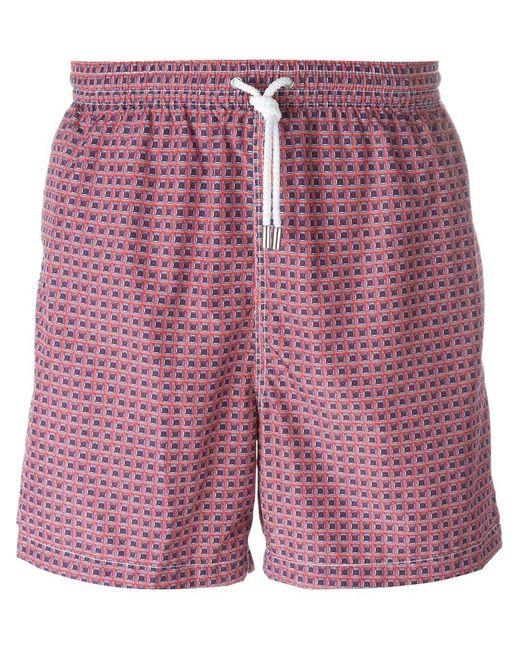 Kiton | Мужские Розовые Плавательные Шорты С Геометрическим Узором
