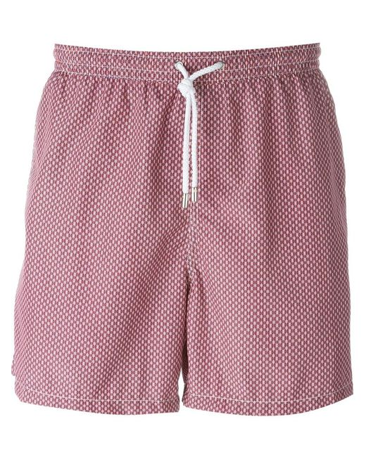 Kiton   Мужское Розовый Wavy Print Swim Shorts