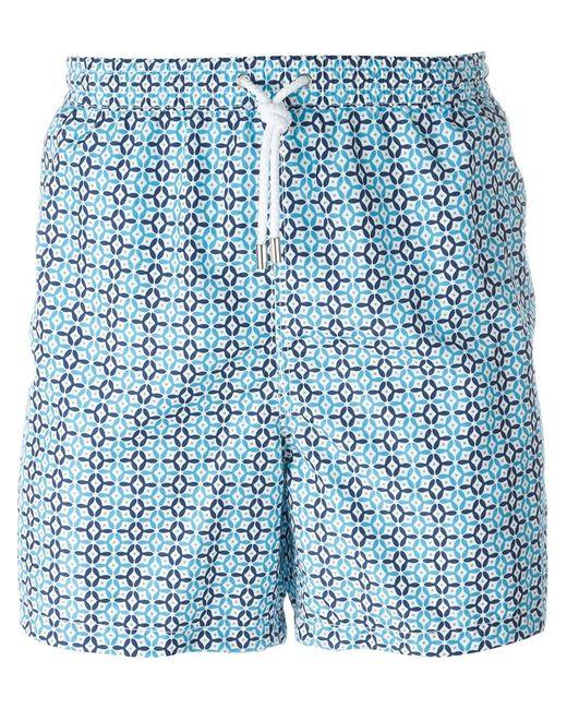 Kiton | Мужские Синие Плавательные Шорты С Мелким Узором