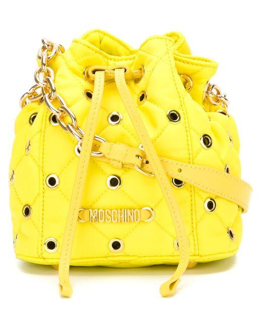 Moschino | Женская Жёлтая Стеганая Сумка-Мешок Через Плечо