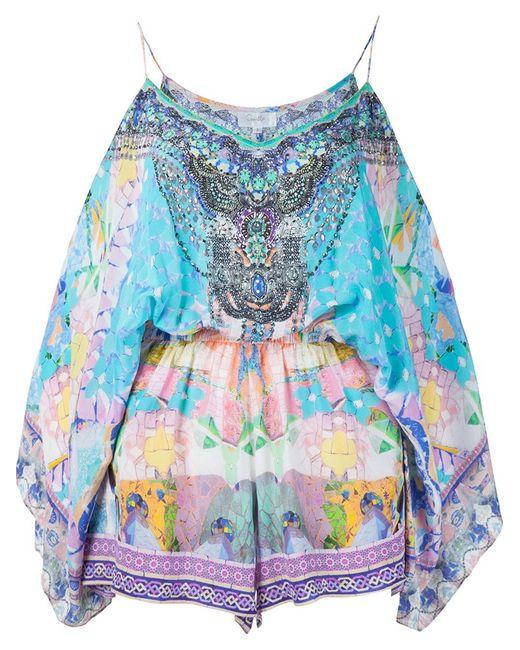 Camilla | Женское Синий Printed Off Shoulder Playsuit