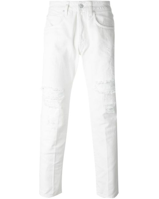 +people | Мужское Nude & Neutrals Distressed Slim Fit Jeans