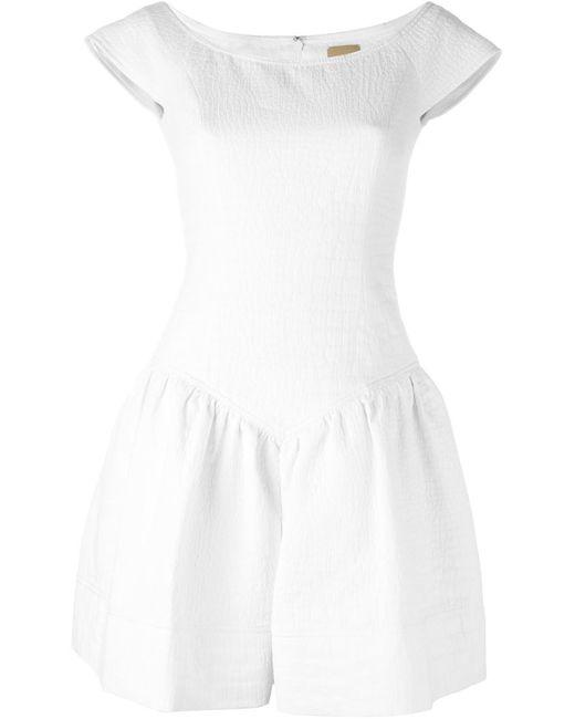 Pascal Millet | Женское Белое Расклешенное Платье С Короткими Рукавами