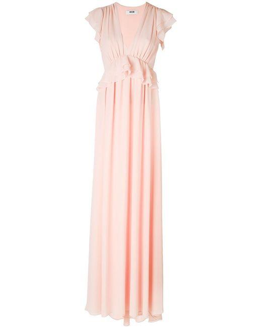 MSGM | Женское Розовое Вечернее Платье С Рюшами