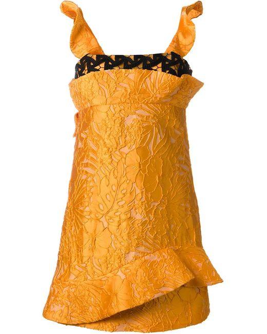 MSGM | Женское Жёлтое Структурированное Платье С Кружевной Отделкой
